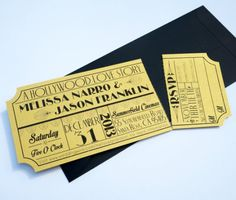 Movie ticket wedding invitation with removable RSVP.