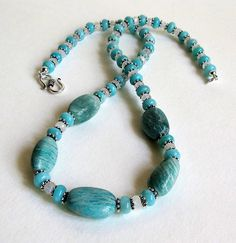 Beautiful Blue Amazonite and Blue Flash Moonstone Necklace