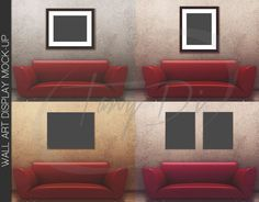 11x14 22x28 33x42 Red Sofa Wall Interior #1, Black Frames Canvas, Wall Art Display Mockup, PNG PSD, Portrait Landscape artwork Styled images
