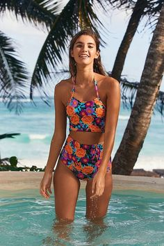 Slide View: 4: Out From Under Printed High Neck Bikini Top