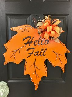 Nothing says fall any better than the changing of the leaves. This beautiful Fall Leaf Wood Door Hanger would be a great addition to any fall decor. This leaf can be personalized with your last name, initial, or saying. Fall Door Hangers, Burlap Door Hangers, Letter Door Hangers, Initial Door Hanger, Halloween Door Hangers, Door Plaques, Plant Hangers, Fall Door Decorations, Fall Decor