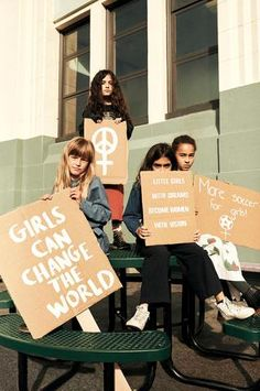 Little Activists – girl power Protest Art, Protest Signs, Feminist Quotes, Feminist Art, Power To The People, Chef D Oeuvre, Change The World, Social Justice, Powerful Women