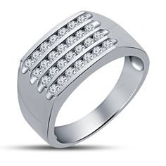Four-Row Simulated Diamond in Channel Set Men's Band Ring 14K White Gold Finish…