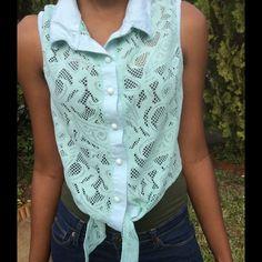 Light blue button down lace  top Cute light weight lace top, great for summer Tops Button Down Shirts