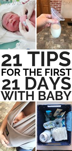 21 tips for the first 21 days with baby. Brilliant hacks for new moms. A newborn survival guide for moms and dads. Breastfeeding tips, sleeping tips, and simple survival tips to get you through the first few weeks with baby. #newborn #hacks