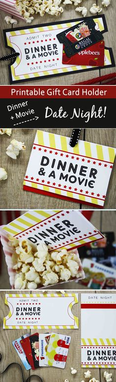 "{Free Printable} Give DATE NIGHT for a Wedding Gift This wedding gift card holder is perfect for holding gift cards to dinner and a movie. Remind couples it's important to still have ""date night"" after the vows are exchanged. Add a dinner and movie gift c Gift Card Presentation, Cadeau Parents, Date Night Gifts, Cadeau Couple, Wedding Gift Baskets, Printable Gift Cards, Wedding Day Gifts, Wedding Card, Wedding Ceremony"