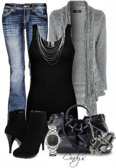 LOVE the top with the silver layered necklace!  Also love the knitted gray sweater.  I have a polyester in the same style and love it.  Jeans would need to be mid-rise for me, though.  GREAT outfit.