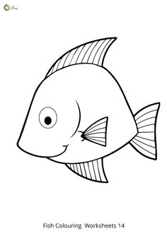 Free Downloadable Fish Worksheets for kids. Fish Coloring Page, Colouring Pages, Coloring For Kids, Coloring Sheets, Fish Drawing For Kids, Worksheet For Nursery Class, Teach Kids To Draw, Kids English, Fish Drawings
