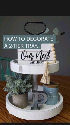 Decorating Ideas, Decor Ideas, Craft Ideas, Tier Tray, Country Farmhouse Decor, Wood Tray, Thrift Stores, Tray Decor, Dollar Tree