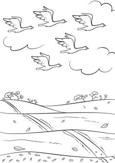 birds fly south in autumn coloring page