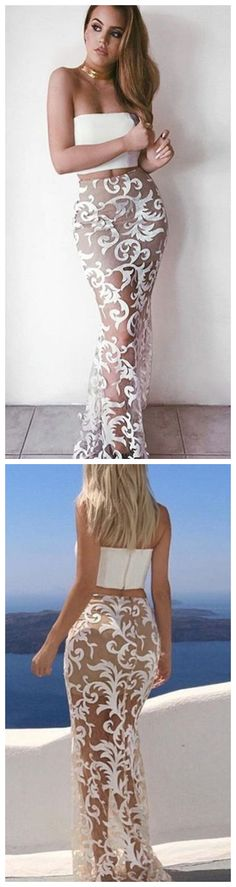 modest two piece white mermaid prom dresses, simple strapless sheer lace party dresses, sexy evening gowns with lace Long Prom Dresses Uk, Celebrity Prom Dresses, Pageant Dresses For Teens, Mermaid Prom Dresses Lace, Elegant Bridesmaid Dresses, Lace Party Dresses, Tulle Prom Dress, Evening Dresses, Lace Mermaid
