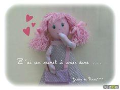 poupée P'tite Demoiselle couleurs pastels avec son p'tit sac à secrets : Jeux, jouets par graine-de-pensee