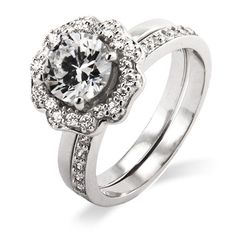 Sterling Silver Blooming Flower CZ Engagement Ring Set $62