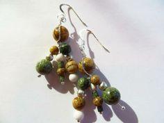 Unique earrings, unique dangle spray, gemstone earrings, handmade earrings by JosiannesJewelry for $16.00