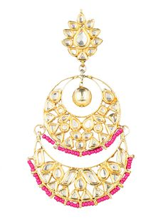 Pink Kundan Studded ChandBali Earrings For Women #Earrings  #indiandesigner #womensshopping #womenswear #ethnicstyle #traditionalwear #fashionable #stylish #wedding #jewellery #accessories #stepintostyle #stepintoawesome #beautifulyou #follow #trendy #love #gift Shop Now: http://bit.ly/1N7MbFS