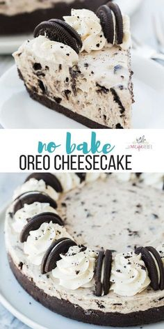 This No Bake Oreo Cheesecake Is Made With Just A Few Ingredients It's So Silky Smooth And Loaded With Chunks Of Oreos. The No Bake Dessert For Summer Easy Dessert Recipe Oreo Dessert No Bake Cheesecake Dessert Oreo, Oreo Desserts, Chocolate Desserts, No Bake Desserts, Easy Desserts, Health Desserts, Chocolate Cream, Desserts For Birthdays, Best Summer Desserts