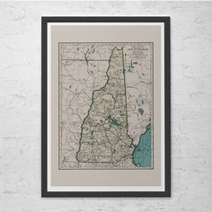 NEW HAMPSHIRE MAP - Vintage Map of New Hampshire - Old Map Print, Vintage Wall Art, Antique Map, Historical Wall Art by EncorePrintSociety on Etsy https://www.etsy.com/listing/249877615/new-hampshire-map-vintage-map-of-new