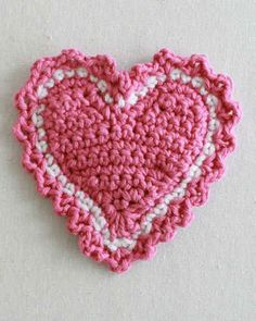 Best Free Crochet » Free Crochet Pattern Heart Coaster #53
