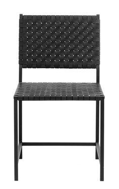 Chair w/black leather weaving, metal