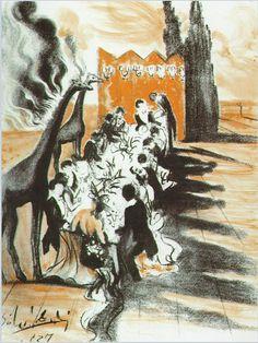 Salvador Dali, Dinner in the Desert Lighted by Giraffes on Fire, 1937