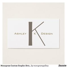 Shop Monogram Custom Graphic Arts Plain Business Card created by monogramgallery. Business Pens, Art Business Cards, Business Card Case, Card Designs, Visual Identity, Things To Come, Hair Accessories, Monogram, Branding