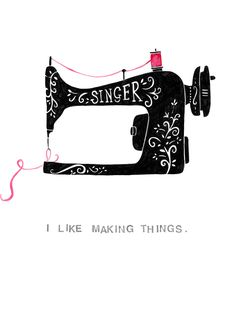 Singer sewing machine watercolour and pen.