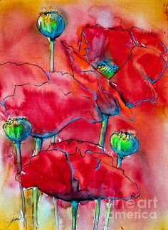 """Daily Paintworks - """"Poppies 2 -(framed)"""" - Original Fine Art for Sale - © Jani Freimann Easy Flower Painting, Flower Art, Watercolor Poppies, Watercolor Paintings, Watercolors, Sharpie Art, Mural Wall Art, Fish Art, Abstract Flowers"""