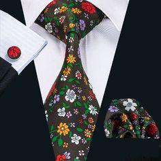 SN-1255 New Hot Floral Prints Mens Tie Hanky Cufflinks Stylish Fashion Silk Ties