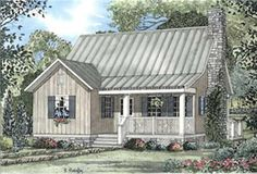 "Main image for house plan # 3952   Floors:	1 1/2  Living Sq Feet:	1178  Bedrooms:	2  Full Baths:	2  Half Baths:	0  Garage Bays:	0  Width:	30' 4""  Depth:	44' 6"""