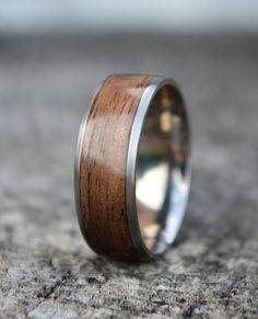 Titanium ring   wood ring   bentwood ring   walnut ring   titanium wood ring   wood wedding band   mens wood ring