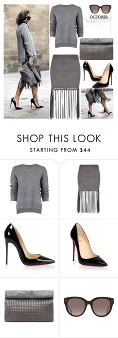 """Grey"" by arethaman ❤ liked on Polyvore featuring Christian Louboutin, Marie Turnor and CÉLINE"