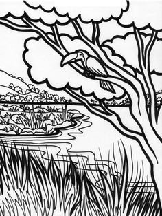 Forest River Coloring Page : Coloring Sky Forest Coloring Pages, Coloring Pages For Kids, Online Coloring, Forest River, Art For Kids, Sky, Painting, Art For Toddlers, Heaven