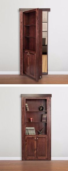 Transform any doorway into a beautiful bookcase that not only serves as a door but as a bookshelf/storage space as well! Whether you are short on space, want to conceal utility or storage areas, or create a secret passageway. Bookshelf Door, Bookshelf Storage, Bookshelf Ideas, Door Shelves, Closet Storage, Bedroom Shelves, Hidden Spaces, Hidden Rooms, Small Spaces