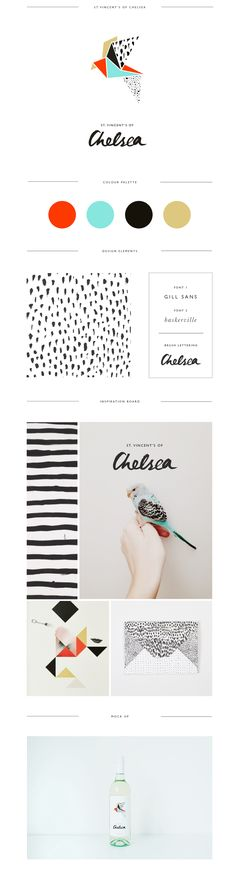 Logo design and branding for St Vincent's of Chelsea by Trudy Georgina. I love this color pallet with the pattern and the birds (the real and graphic ones). Amazing #stationary.