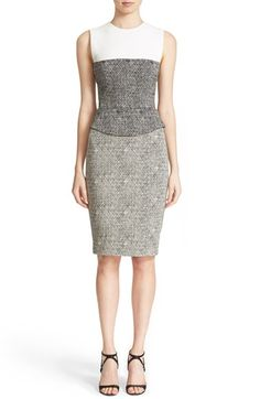 Narciso Rodriguez Crosshatched Jacquard Peplum Dress available at #Nordstrom