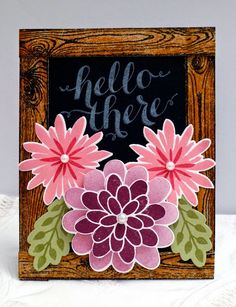 handmade card using Stampin' Up! Hello There and Flower Patch with Hardwood frame ... luv the brilliant colors and composition of this card ...