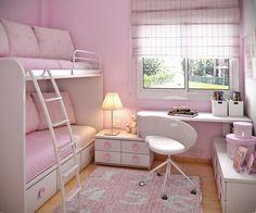 Etagenbett mit Sofa und Stauraum - rosa Wandfarbe und weiße Möbel