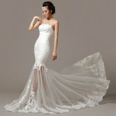 white lace mermaid wedding dress