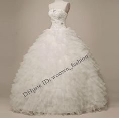 Discount Strapless 2014 New Fashion Ankle Length Lace Wedding Dress Custom Made Ball Gown Wedding Dress Ruffle Plus Size Bridal Gown Formal Dress C34 Online with $257.6/Piece | DHgate