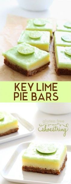 These moist tender and tangy key lime pie bars have a cookie crumb crust a custard filling and a simple lime curd topping. Make them days ahead of time and they'll still taste fresh!These moist tender and tangy key lime pie bars have a cookie crumb crust a custard filling and a simple lime curd topping. Make them days ahead of time and they'll still taste fresh!glutenfreeonashoe...