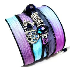 Swarovski Crystals Hand Dyed Silk Wrap Bracelet