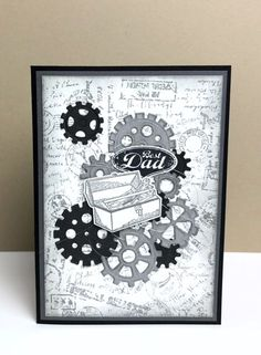 Classic Garage Product Spotlight card featuring the Geared Up Garage stamp set a… Classic Garage Product Spotlight-Karte mit dem Geared Up Garage-Stempelset und den Garage Gears Thinlits Dies # Birthday Greetings For Father, Birthday Cards For Men, Birthday Greeting Cards, Masculine Birthday Cards, Masculine Cards, Stampin Up Anleitung, Boy Cards, Stamping Up Cards, Fathers Day Cards