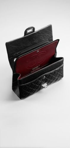 Chanel 2.55 double flap in lambskin with classic red interior