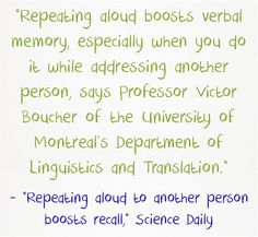 New Study Finds Interesting Twist: Repeating Words Helps, & Repeating Them To Someone Is Better