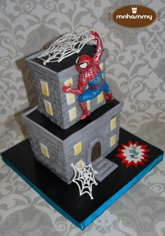Spiderman - Cake by Mnhammy by Sofia Salvador Superhero Cookies, Superhero Cake, Cupcake Party, Cupcake Cakes, Cupcakes, Spiderman Theme, Cake Spiderman, Building Cake, Avenger Cake