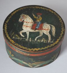 19th C. ANTIQUE FOLK ART PANTRY BOX WITH WONDERFUL  POLYCHROME HORSE & RIDER NR*