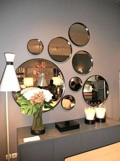 marvelous mirror wall decoration ideas that inspired you 6 < Home Design Ideas Dining Room Mirror Wall, Living Room Mirrors, Mirror Wall Art, Living Room Decor, Wall Mirror Ideas, Mirror Bedroom, Dining Decor, Mirror Set, Bedroom Decor