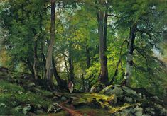 Hand painted oil painting reproduction on canvas of Beech forest in switzerland 1863 1 by artist Shishkin as gift or decoration by customer order. Oil Painting For Beginners, Oil Painting Techniques, Painting Process, Russian Painting, Russian Art, Forest Painting, Light Painting, Russian Landscape, Oak Forest