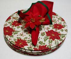 Sousplat (capa e base) de tecido natalino + Guardanapos