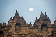 Moon over Borobudur Temple in Indonesia